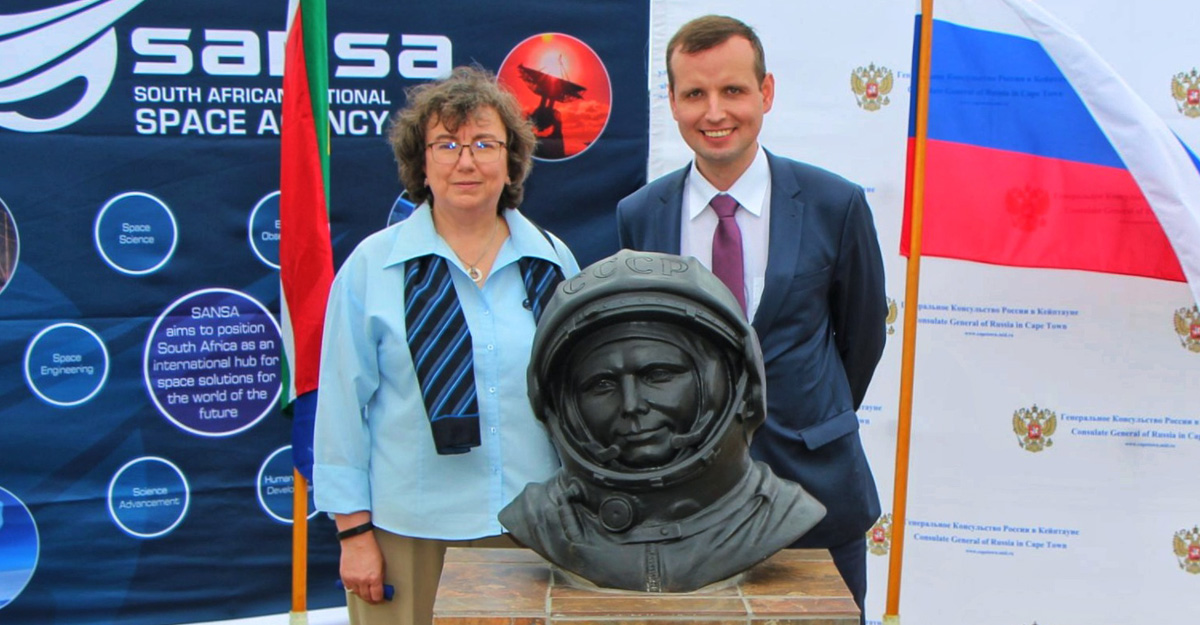Visit the latest installation of Yuri Gagarin in South Africa's coastal town of Hermanus
